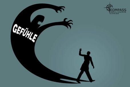 Ein Mensch steht verängstigt seinen übermächtigen, schattenhaften Gefühlen gegenüber. Wenn das passiert, schimpfen wir.
